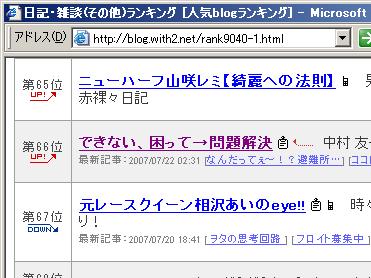 人気blogランキング66位!(2007/07/22 03:00現在)