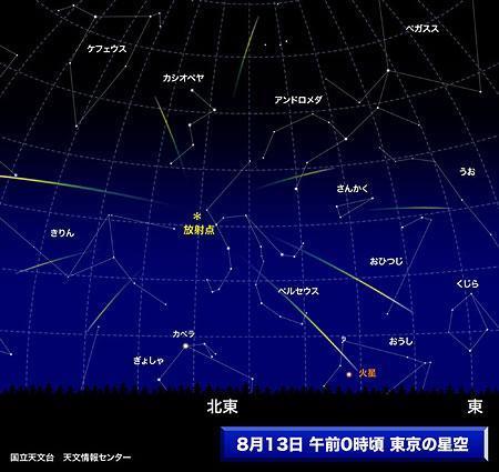 ペルセウス座流星群:13日が出現ピーク、11日夜から14日朝まで