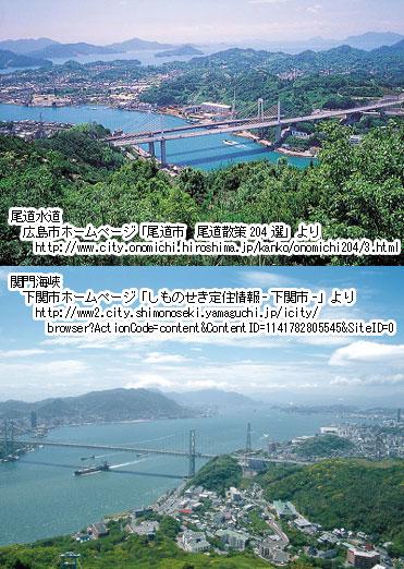 尾道水道と関門海峡の比較。尾道市および下関市のホームページより。