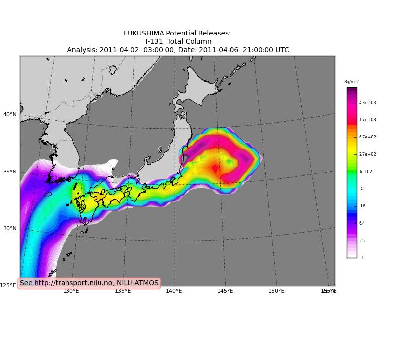 福島第一原発による放射能汚染の予想(ノルウェー気象研究所)