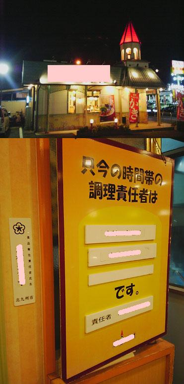 該店舗とその時に店舗内に掲示されていた担当者の氏名の写真。